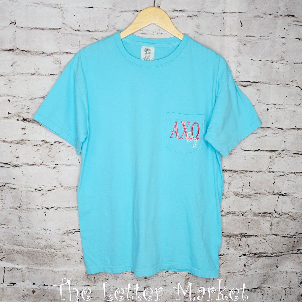 Big/Little sorority Tee, comfort colors pocket tee at The Letter Market