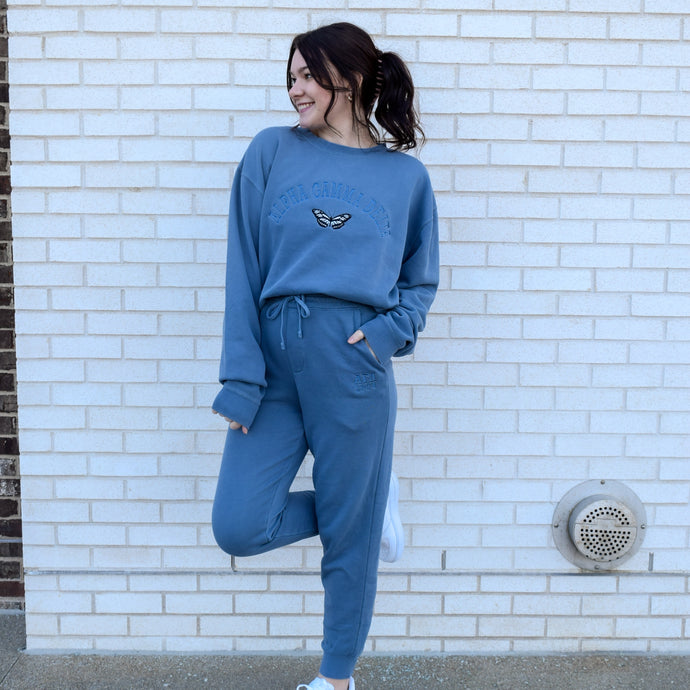 Slate Blue Pigment Dyed Butterfly Sweat-Set