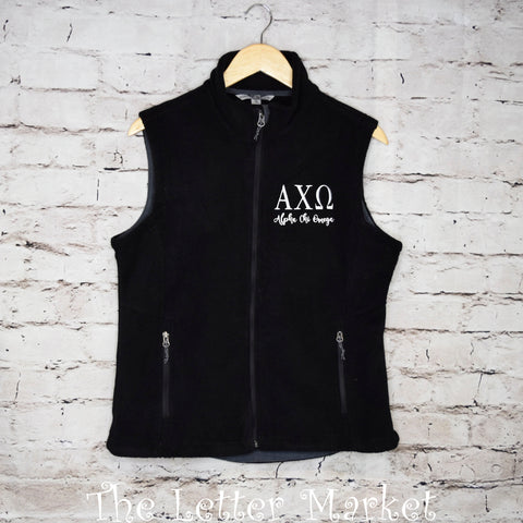 Sorority  Ladies Fleece Vest - The Letter Market