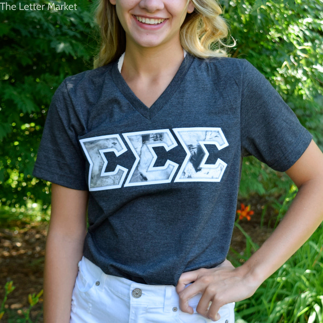 Sorority Marble Applique V-Neck Tee Shirt - The Letter Market