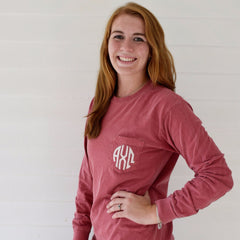 Sorority Long Sleeve Comfort Colors Pocketed Tee