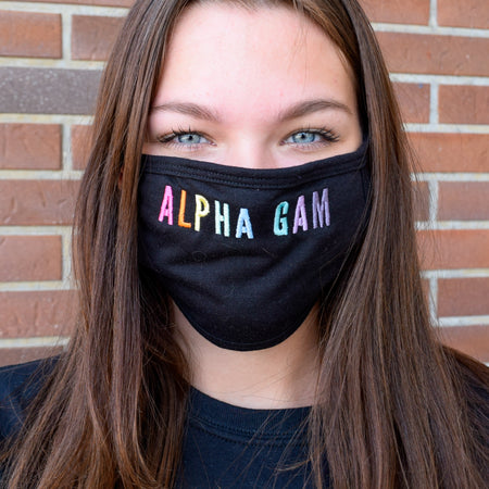 Simple Rainbow Letters Sorority Face Mask