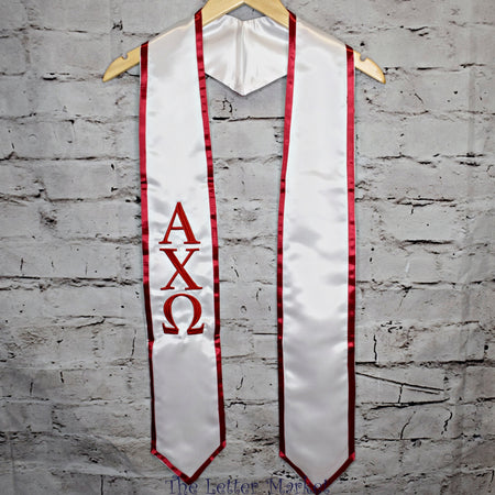 Sorority/Fraternity Graduation Stole/Sash - The Letter Market Alpha Chi Omega