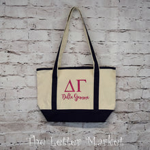 Sorority bid day tote, canvas, embroidered.  The Letter Market