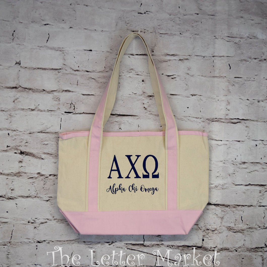 Sorority Bid Day Tote, Canvas, embroidered,  other options.