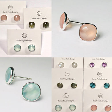 Faceted Gem Earrings - studs