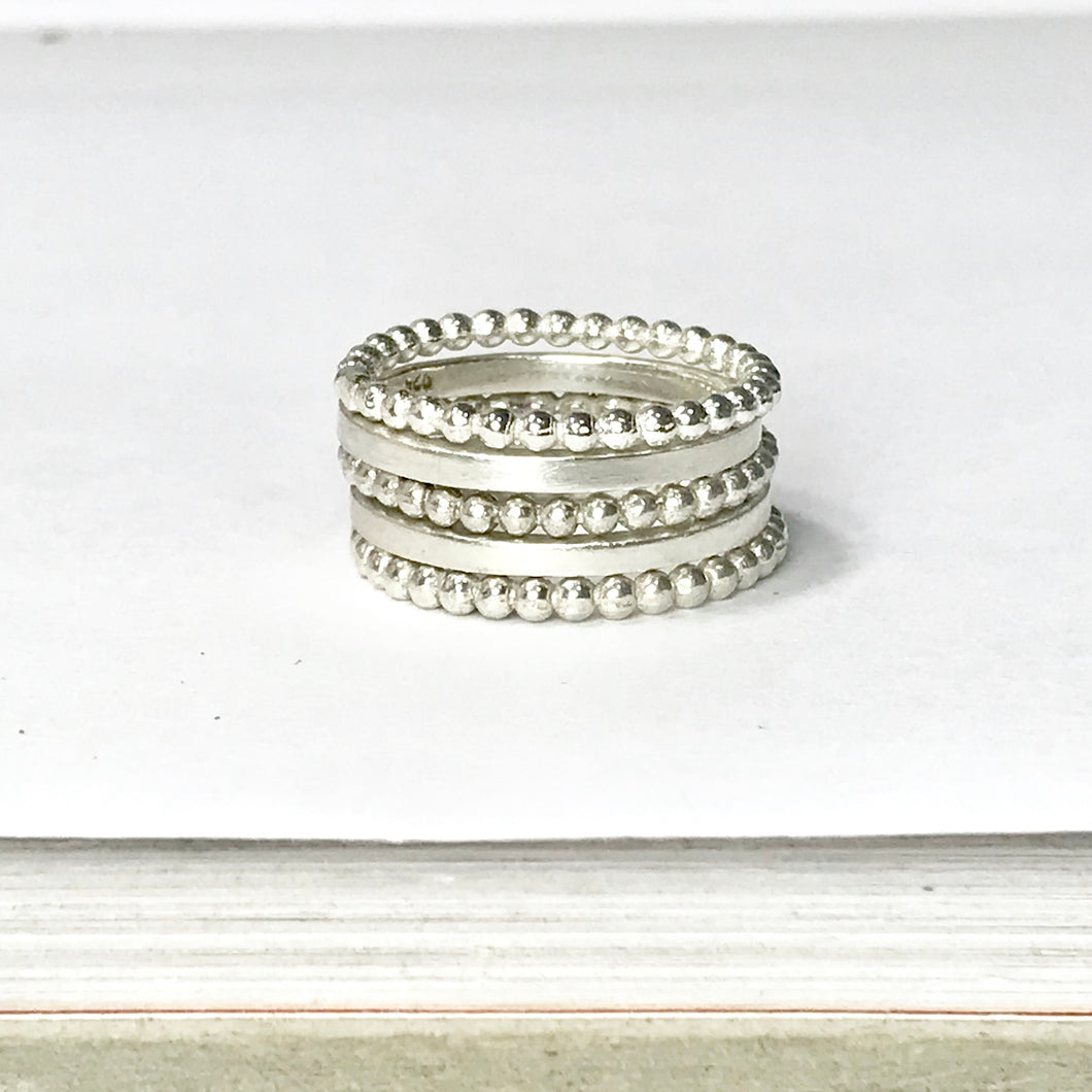 Stackable ring sets - smooth and beaded