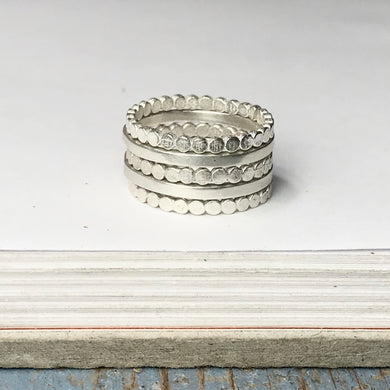 Stackable ring sets - smooth and flat-beaded