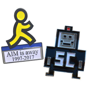 AIM & SMARTER CHILD ENAMEL PIN SET