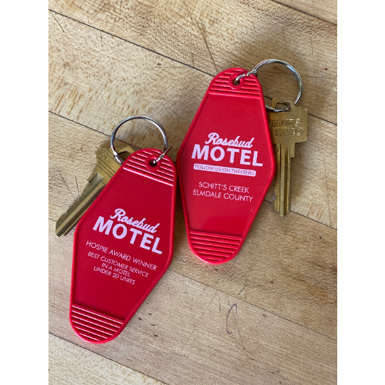 SCHITT'S CREEK - ROSEBUD MOTEL KEYTAG  w/FREE SHIPPING. *** BACK IN STOCK!!!