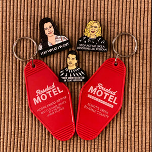 Schitt's Creek 3-pin set plus 2 Rosebud Motel Keytags