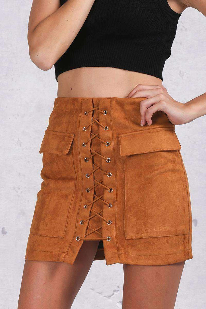 Apparel Autumn lace up suede leather vintage skirt - sale44