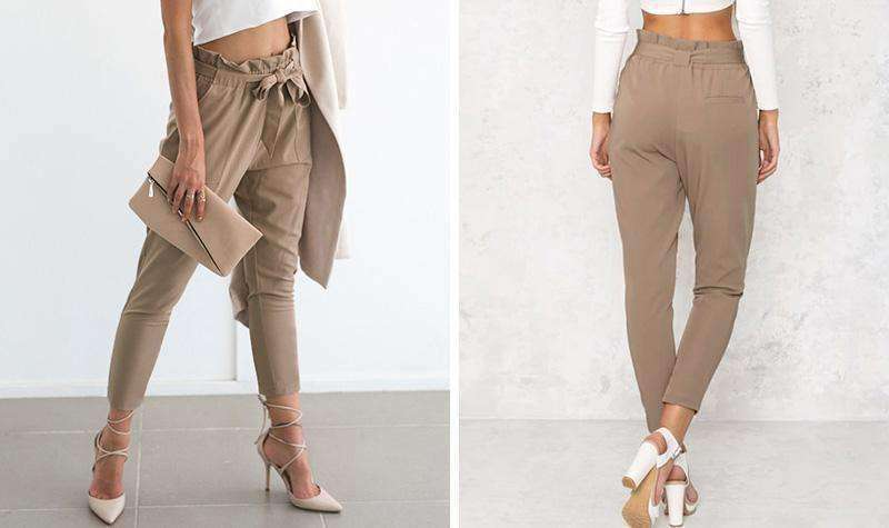 Chiffon pink high waist harem pants - sale44