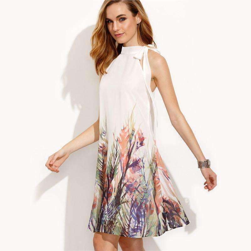 Boho Dress Beige Print Bow High Neck Sleeveless Straight Dress - sale44