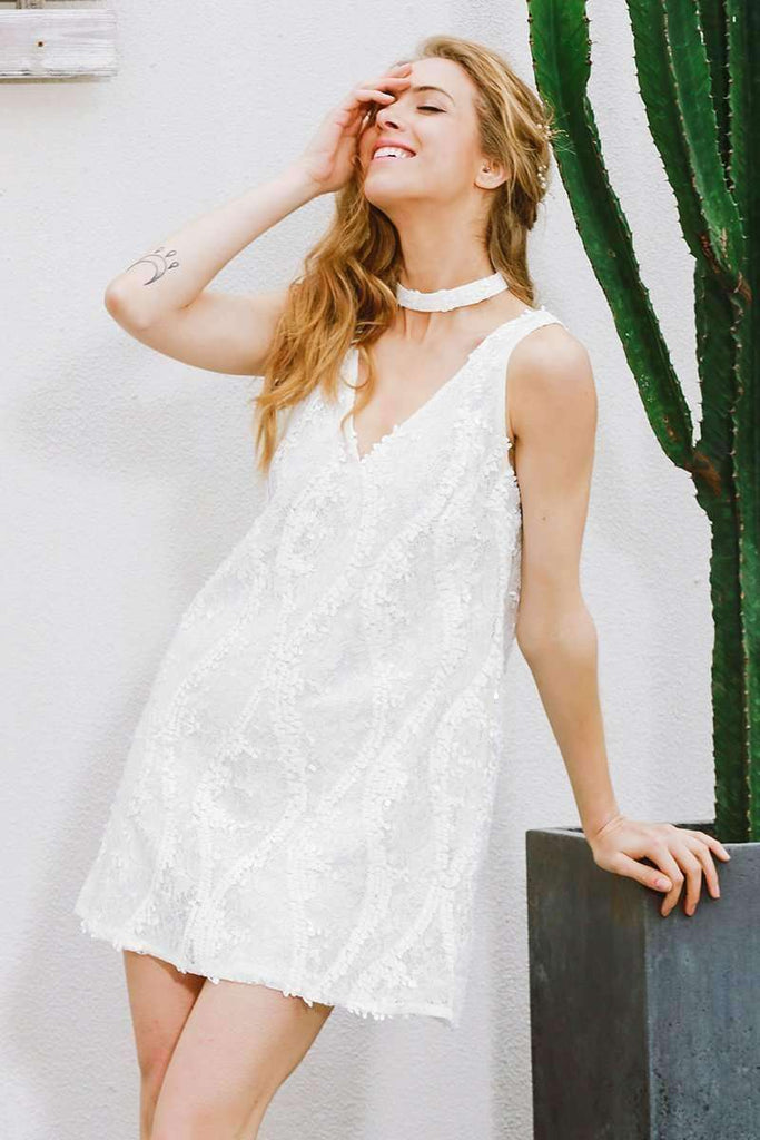 Halter White Lace Sequined Dress - sale44
