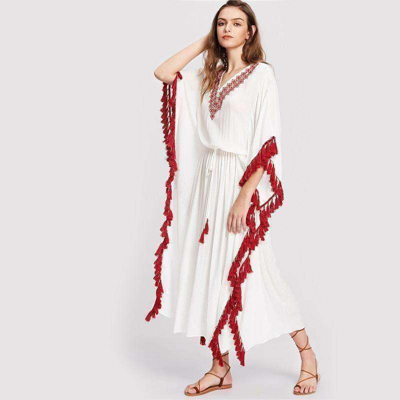 Tassel Trim Embroidered V Neck Dolman Sleeve Dress - sale44