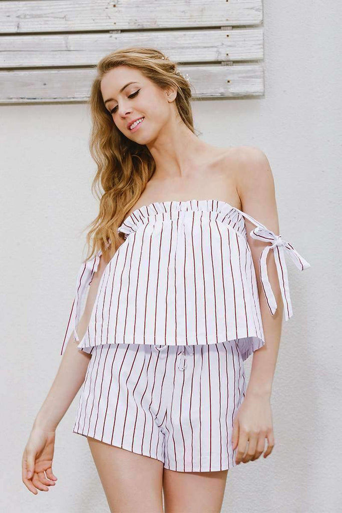 White Bow Striped Romper - sale44