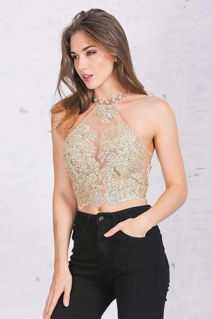 Elegant Lace Crop Top - sale44