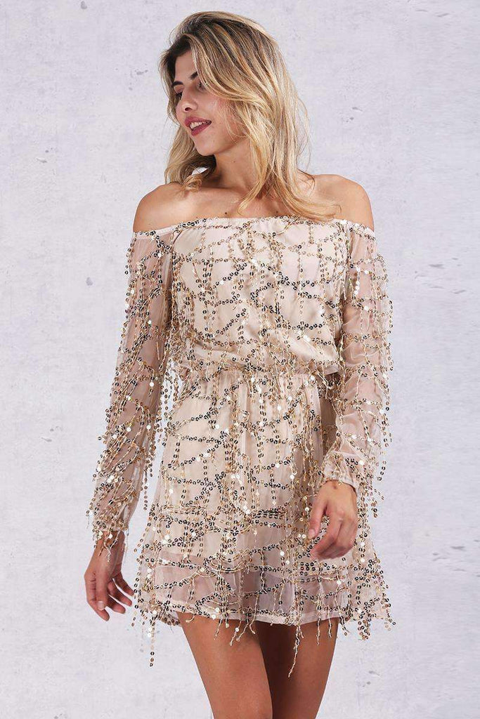 Sexy Long Sleeve Sequined Dress - sale44