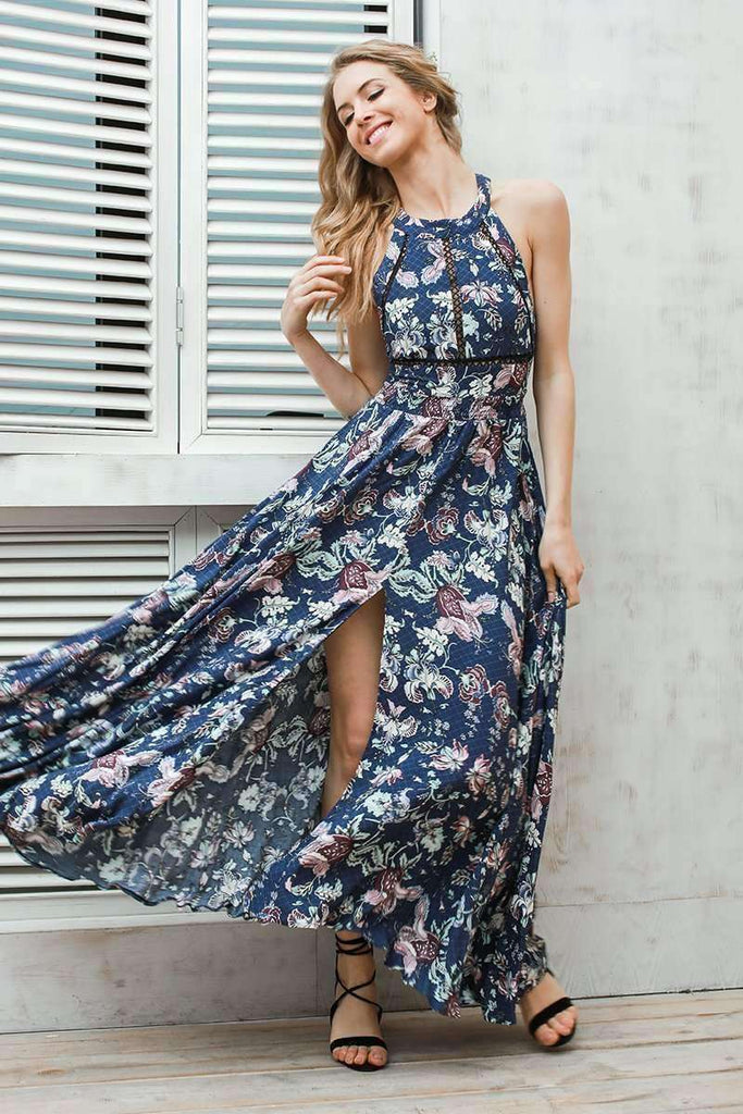 Halter floral print split summer dress - sale44