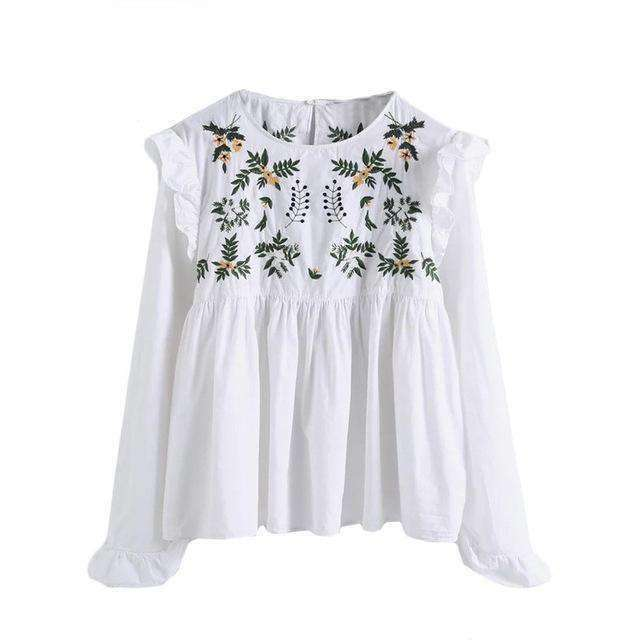Embroidery Ruffle Trim Pleated Blouse - sale44