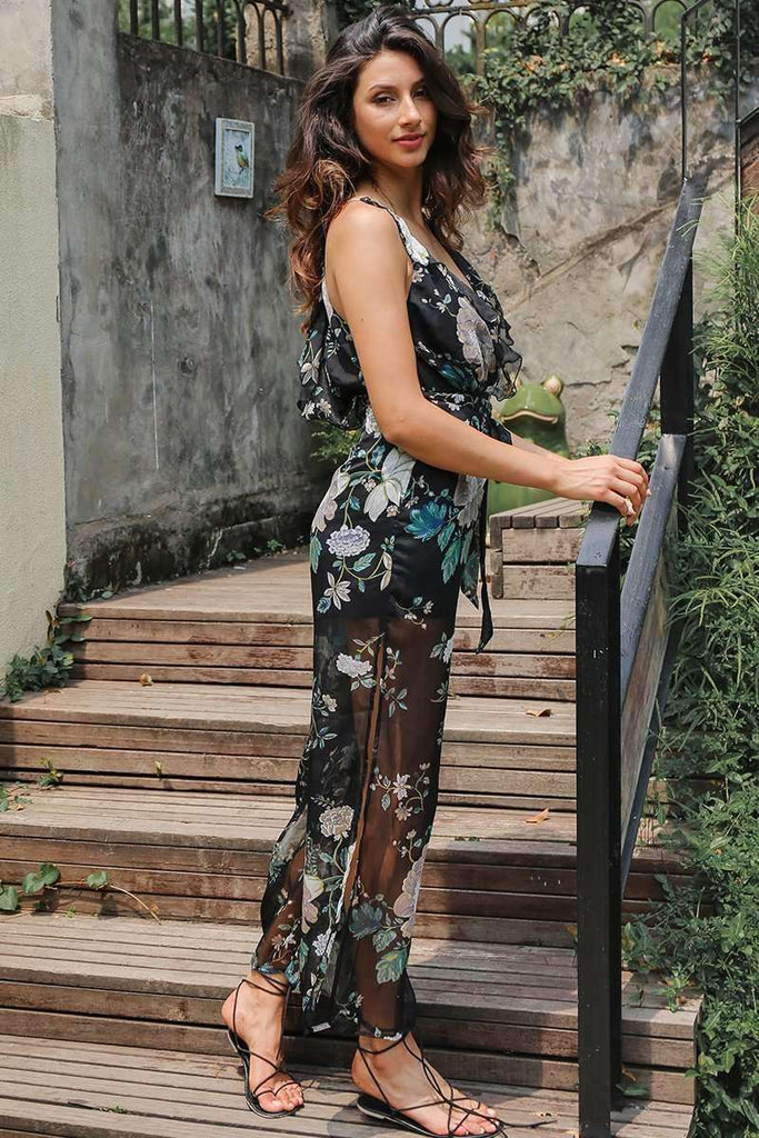 Deep V Flower Print Jumpsuit - sale44