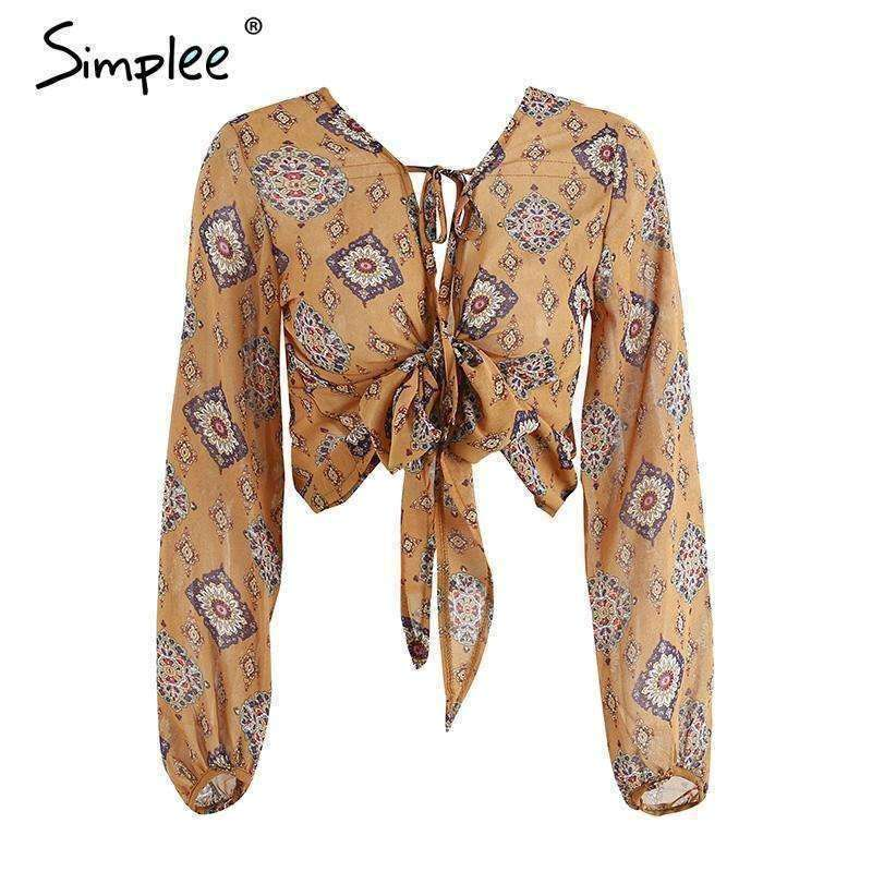 Deep v neck print chiffon blouse long sleeve - sale44