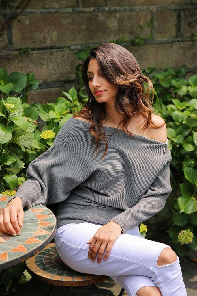 Off Shoulder Sexy Knitting Pullover - sale44