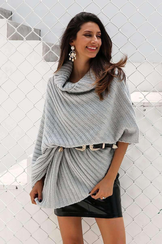Turtleneck Knitted Poncho - sale44