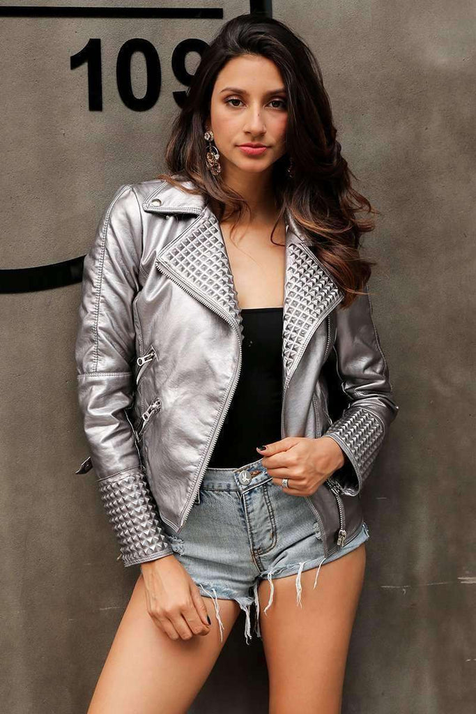 Bling faux leather jacket - sale44