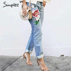 Floral embroidery pants jeans - sale44