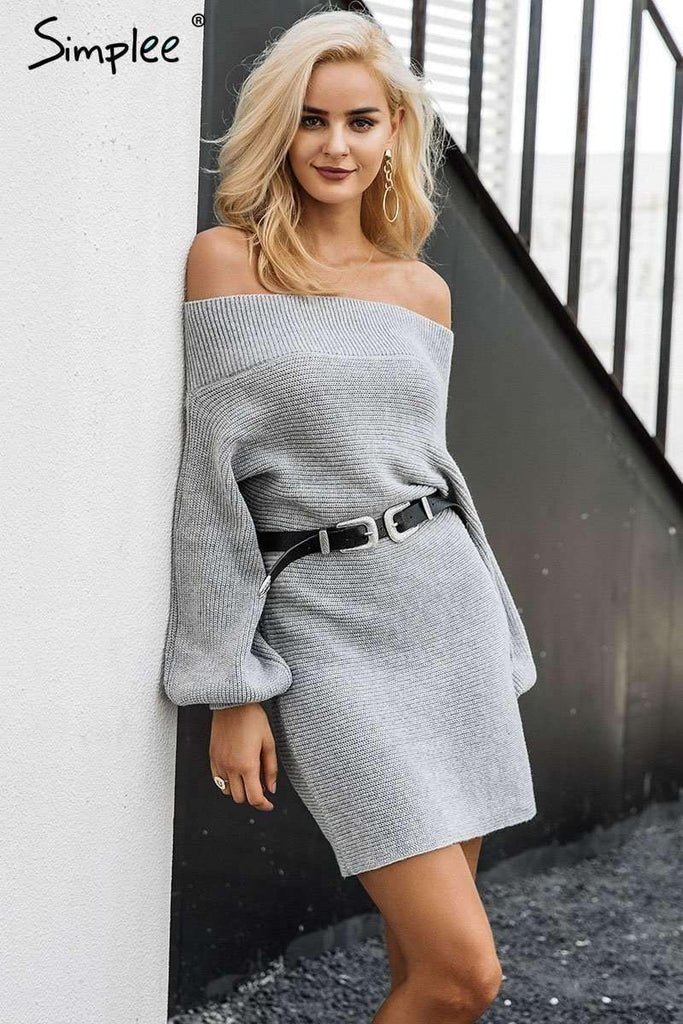 Off shoulder long knitted sweater dress - sale44