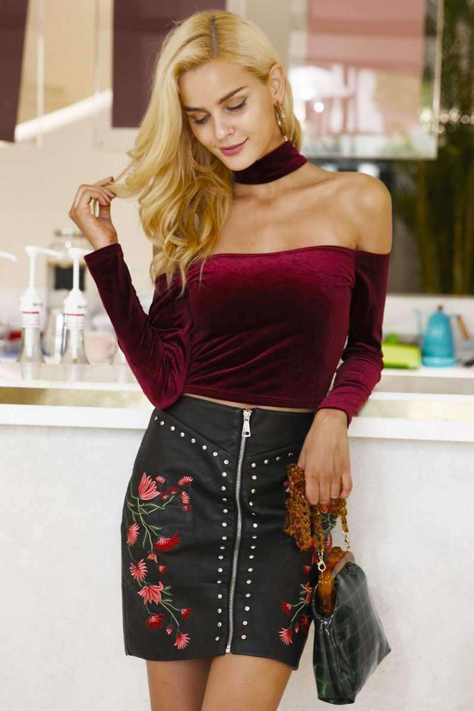 Sexy off shoulder velvet t-shirt women tops - sale44