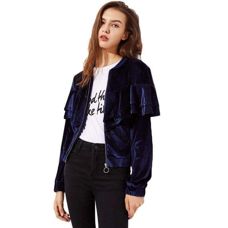 Layered Flounce Trim Velvet Jacket - sale44