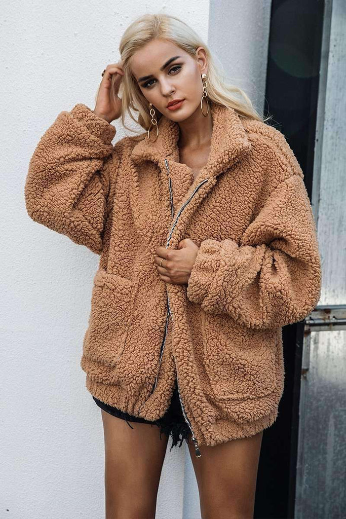 Faux lambswool oversized jacket - sale44