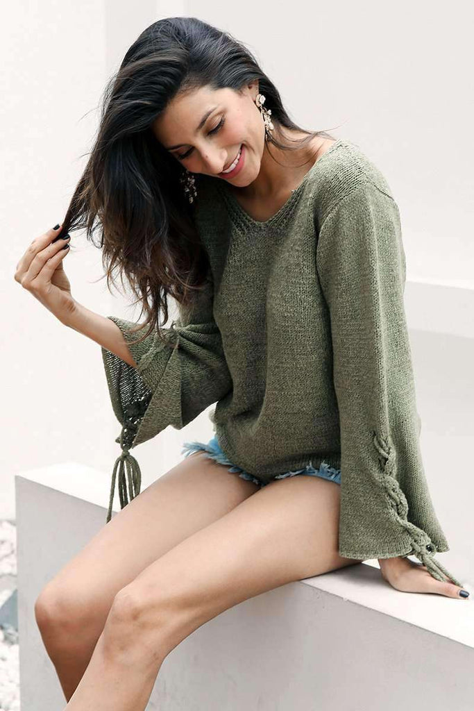Lace Up Knitted Sweater Pullover - sale44