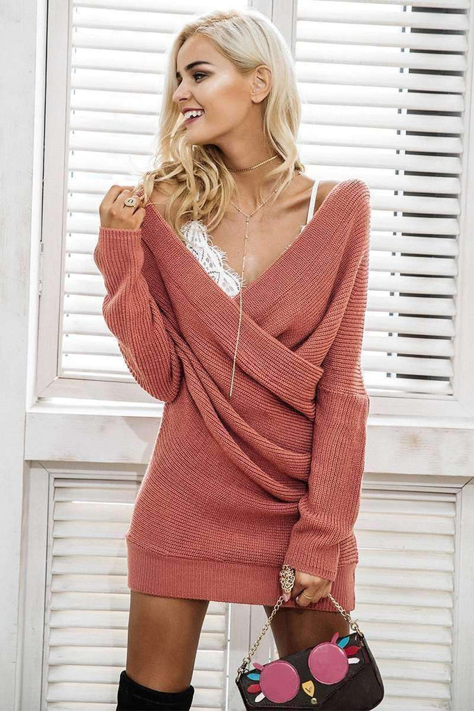Sexy V neck cross knitting sweater dress - sale44