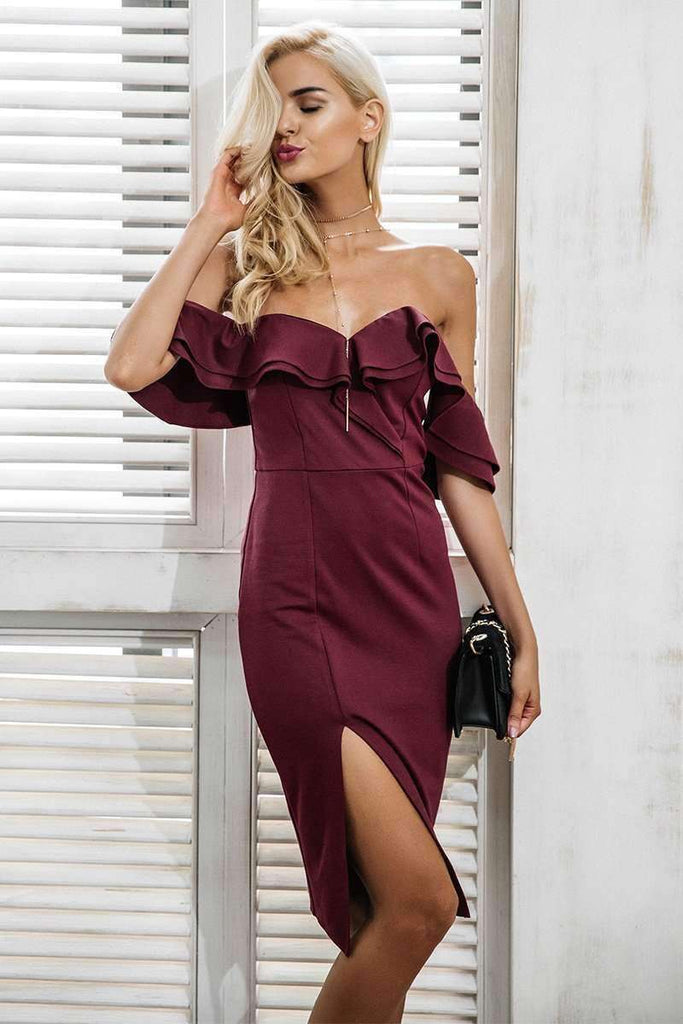 Off shoulder ruffle sexy bodycon dress - sale44