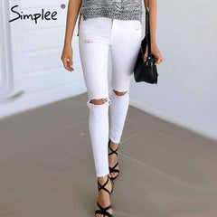 hole ripped jeans cool denim high waist pants - sale44