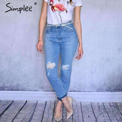 Basic denim hollow out jeans - sale44