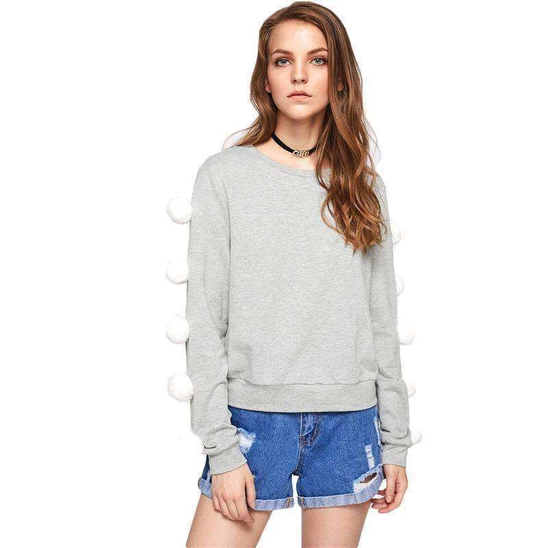 Pom Pom Sleeve Heather Knit Sweatshirt - sale44