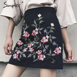 Fashion embroidery denim skirt