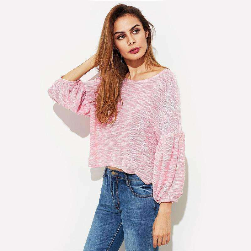 Puff Sleeve Slub Crop Pullover - sale44