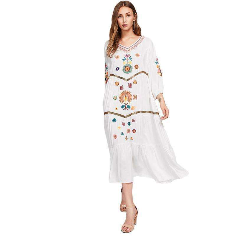Lantern Sleeve Embroidered Tiered Dress - sale44