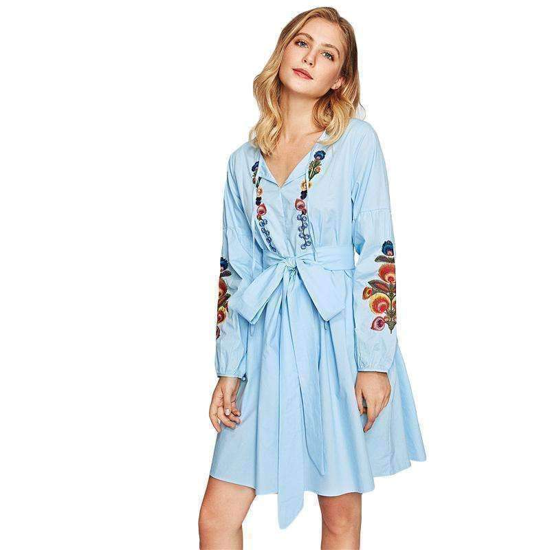 Tie Neck Lantern Sleeve Embroidered Smock Dress - sale44