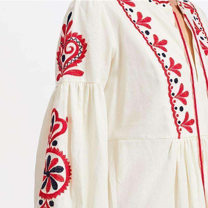 Tasseled Tie Lantern Sleeve Ukrainian Embroidered Dress - sale44