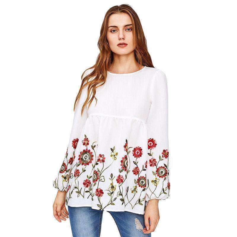 Embroidery Lantern Sleeve Keyhole Back Smock Blouse - sale44