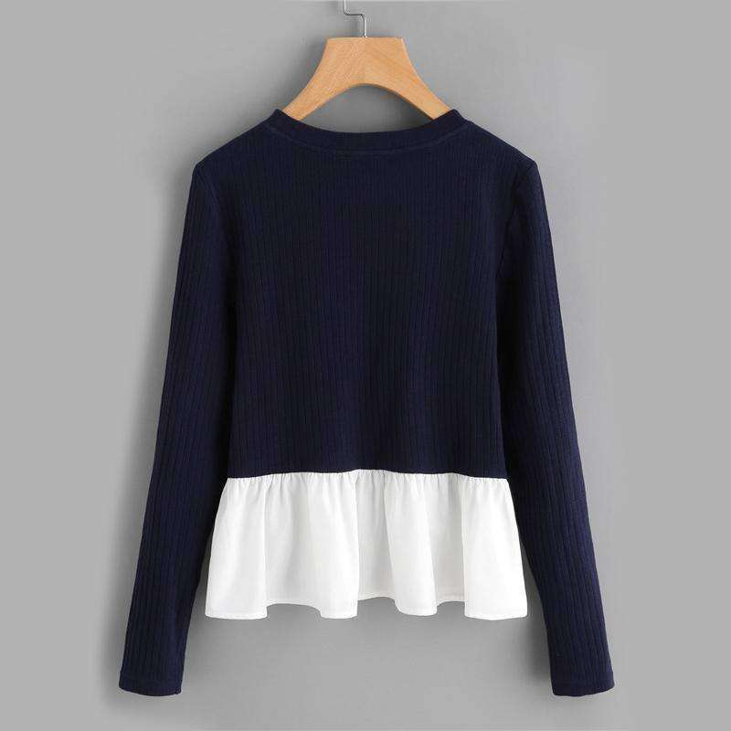 Contrast Frill Trim Rib Knit T-shirt 2017 - sale44
