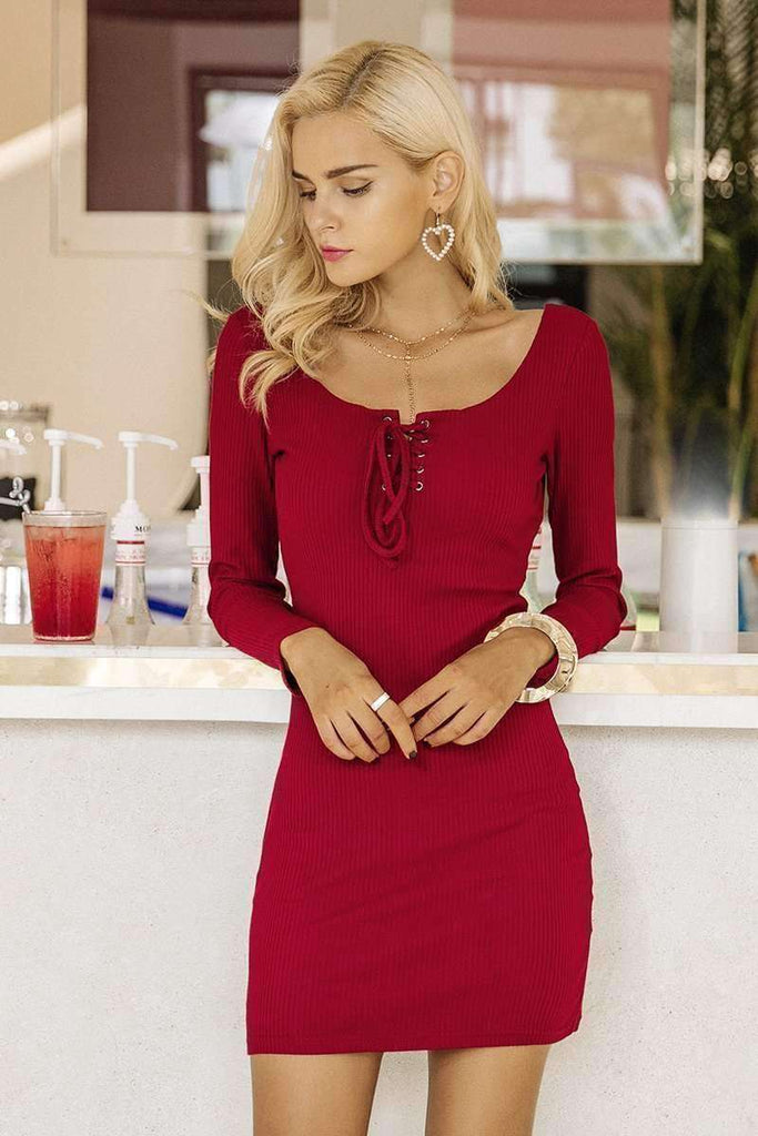 Elegant lace up women knitted dresses - sale44