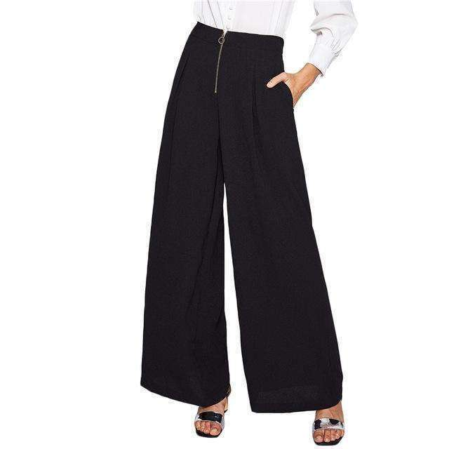 Exposed Zip Front Fold Pleat Palazzo Pants - sale44